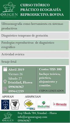 Próximo 26 y 27 de Abril de 2019 Curso de Ecografía Reproductiva Bovina